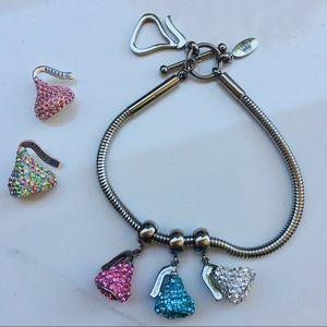 Crystal silver Hershey's Kisses bracelet charm